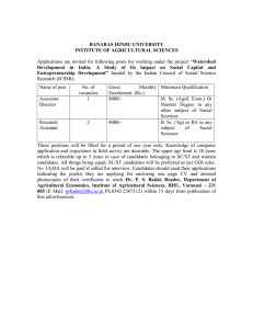 Applications are invited for the post of AD/RA(Department of Agricultural Economics-IAS) Advt. Date 31-01-2008