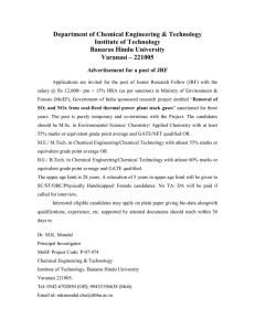 Applications are invited for Junior Research Fellow (JRF)