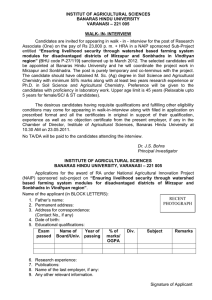 "Walk - in - interview for the post of Research Associate in a NAIP sponsored Sub-Project entitled ""Ensuring livelihood security through watershed based farming system modules for disadvantaged districts of Mirzapur and Sonbhadra in Vindhyan region"""