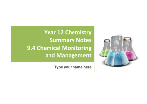 Year 12 Chemistry Summary Notes 9.4 Chemical Monitoring and Management