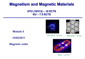 Magnetism and Magnetic Materials – 10 ECTS DTU (10313) – 7.5 ECTS