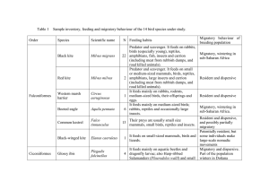 Table 1  Sample inventory, feeding and migratory behaviour of...  Migratory  behaviour  of