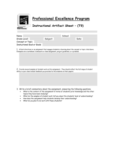 Professional Excellence Program Instructional Artifact Sheet – (T9)  Name