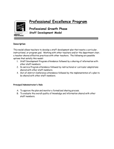 Professional Excellence Program Professional Growth Phase Staff Development Model