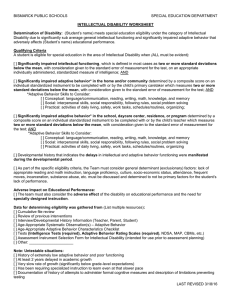 Intellectual Disability Worksheet