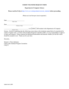 CREDIT TRANSFER REQUEST FORM  Department of Computer Science Q at