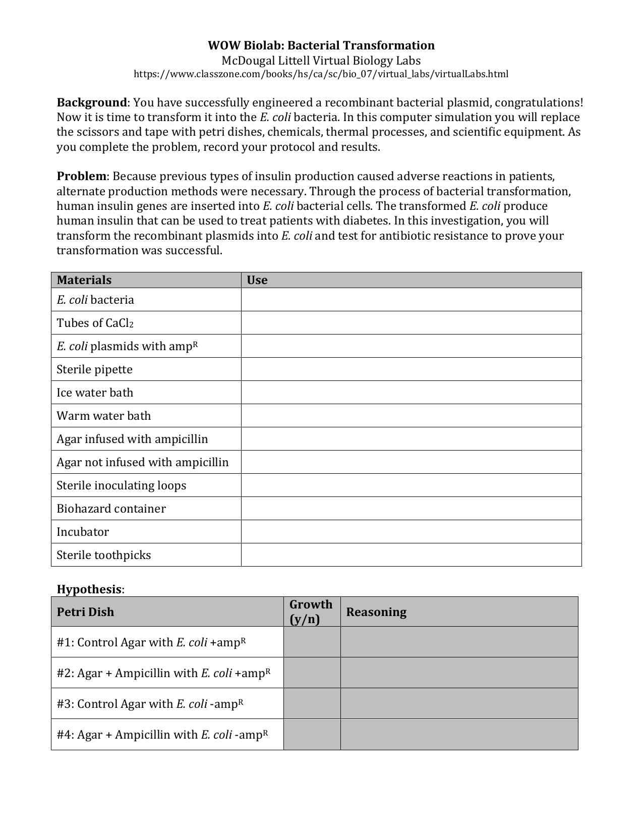 39  Bacterial Transformation Lab Notebook doc