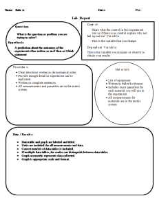 Lab Report Template, Rubric, and Standards