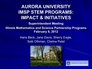 IMSP STEM Programs: Impact and Initiatives, Superintendent Meeting