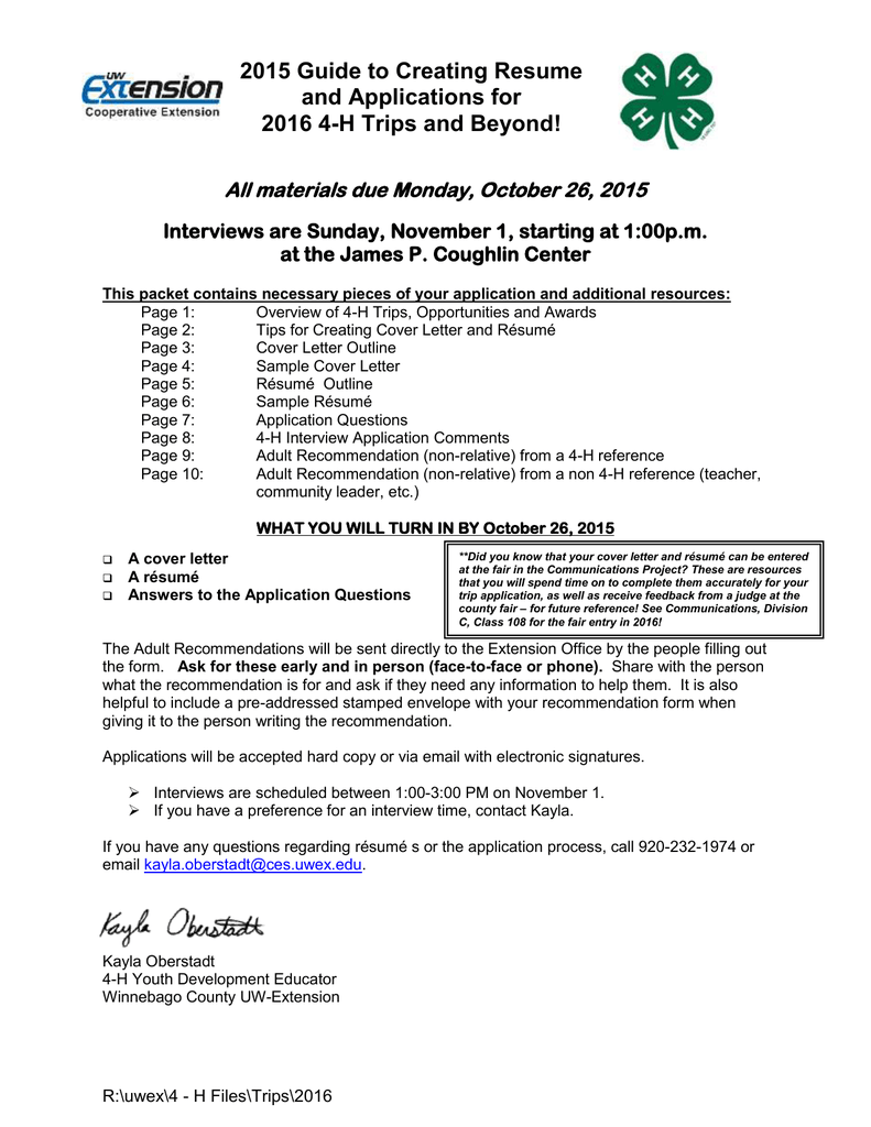 4 H Trip Application Packet 2015 2016