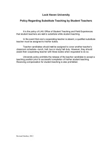 Lock Haven University  Policy Regarding Substitute Teaching by Student Teachers