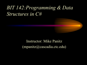 BIT 142:Programming & Data Structures in C# Instructor: Mike Panitz ()