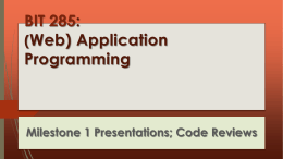 BIT 285 : Web) Application Programming