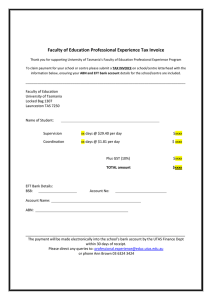 Faculty of Education Professional Experience Tax Invoice