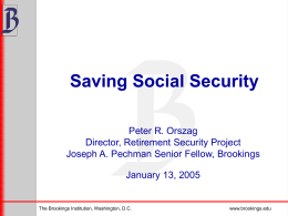 Saving Social Security (presentation by Peter Orszag)