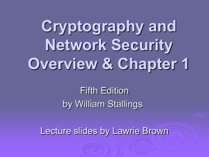 Cryptography and Network Security Overview & Chapter 1 Fifth Edition