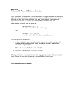 MATH 3220 – Polynomial Equivalence Evaluation Assignment #1