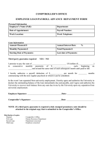 COMPTROLLER'S OFFICE EMPLOYEE LOAN/PAYROLL ADVANCE  REPAYMENT FORM
