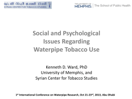 Social and Psychological Issues Regarding Waterpipe Tobacco Use