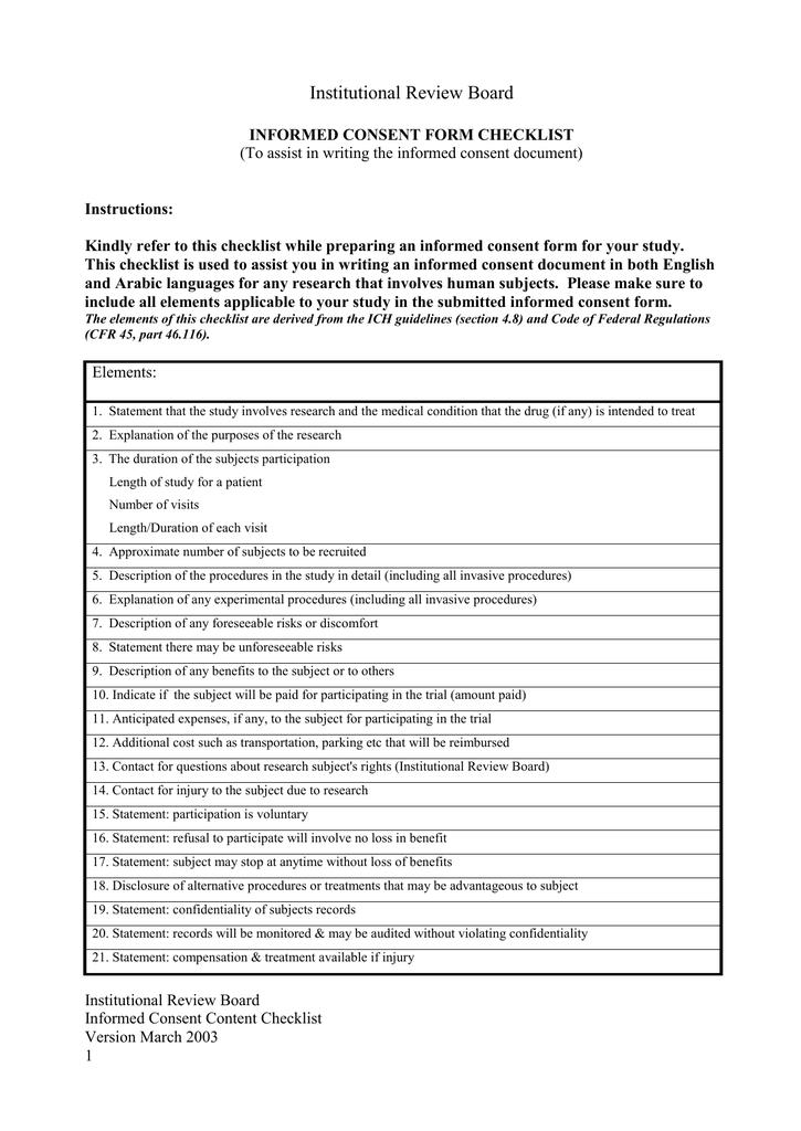 Informed consent form checklist altavistaventures Gallery