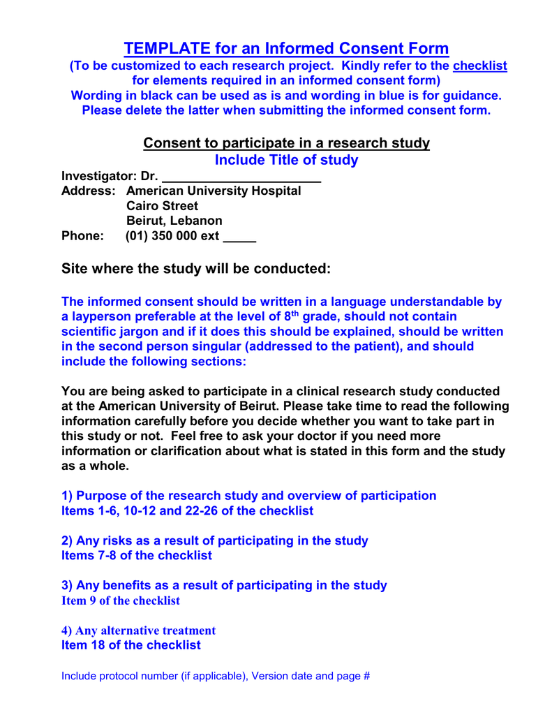 Informed Consent Template- English