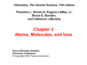 Chapter 2 Atoms, Molecules, and Ions Chemistry, The Central Science