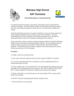 determination of mass and mole relationship in a chemical reaction lab