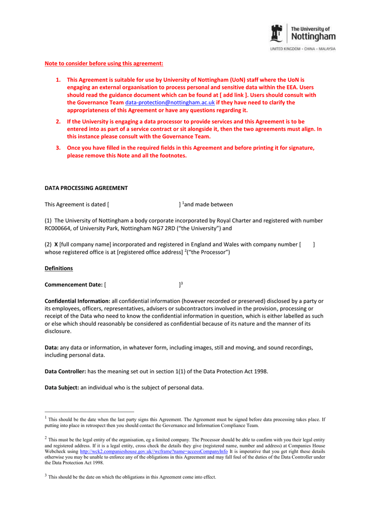 Template Data Processing Agreement