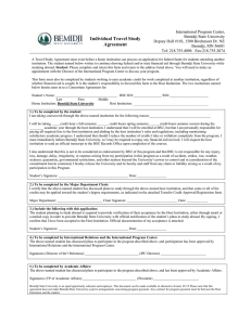 Individual Travel Study Agreement Form