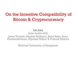 On the Incentive Compatibility of Bitcoin & Cryptocurrency