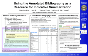 Using the Annotated Bibliography as a Resource for Indicative Summarization