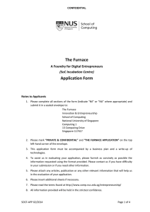 The Furnace Application Form A Foundry for Digital Entrepreneurs (SoC Incubation Centre)