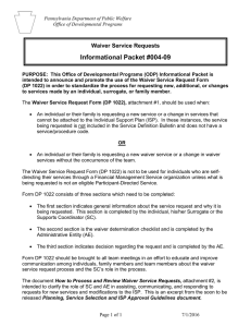 Informational Packet #004-09: Waiver Service Requests