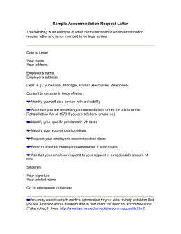 Ada Accommodation Request Letter