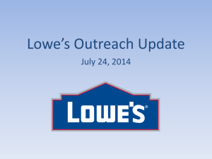 Lowe's Outreach Update