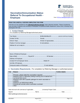 Vaccination/Immunisation Referral Form
