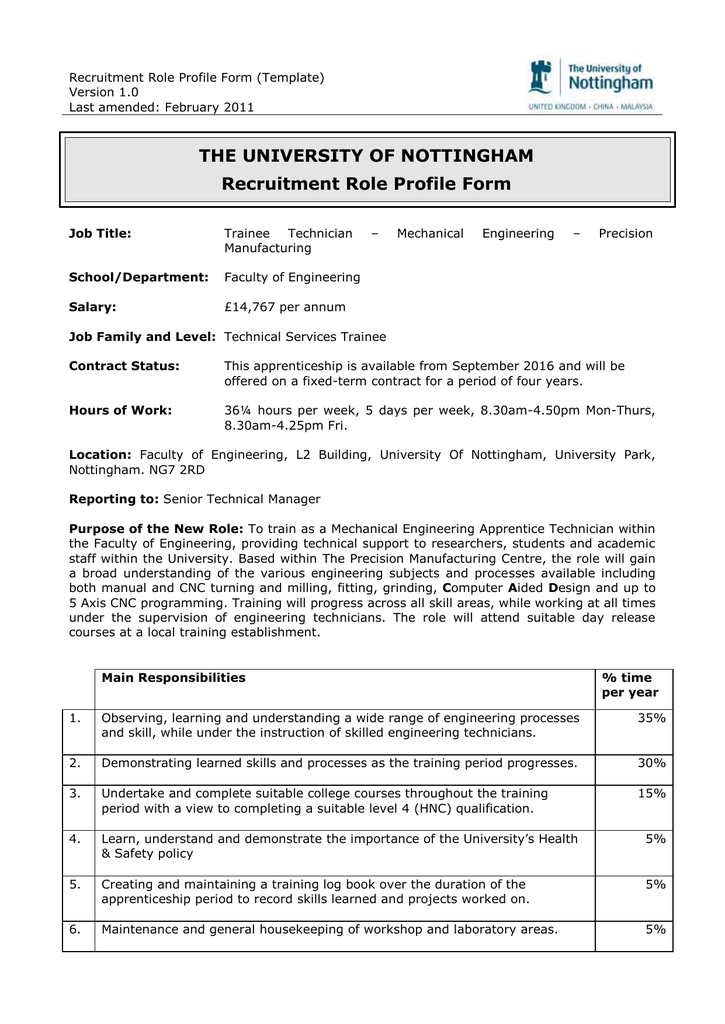 The University Of Nottingham Recruitment Role Profile Form