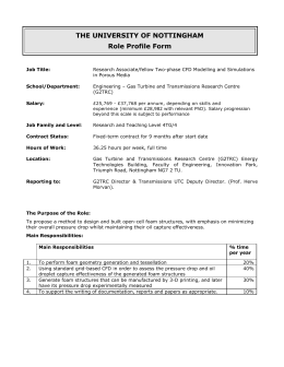 THE UNIVERSITY OF NOTTINGHAM Role Profile Form