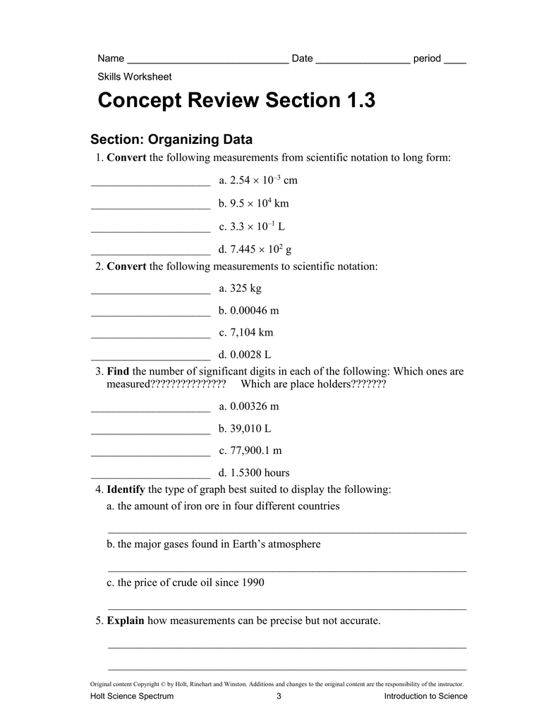 Worksheets Holt Science Spectrum Worksheets practice problems chapter 1 section 3