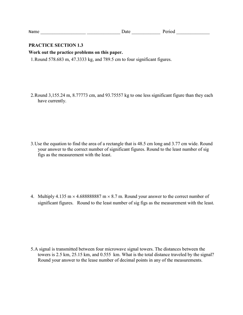 Significant Figures Practice Worksheet graph paper for printing – Scientific Measurement Worksheets
