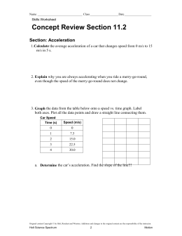 Concept Review Section 11.2 Section: Acceleration