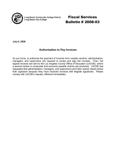 Fiscal Services Bulletin # 2008-03 Authorization to Pay Invoices