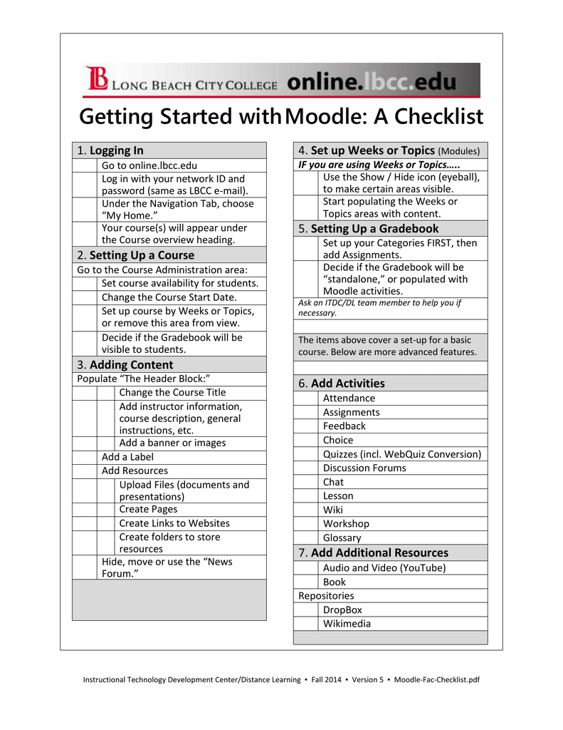 Getting Started with Moodle: A Checklist Logging In