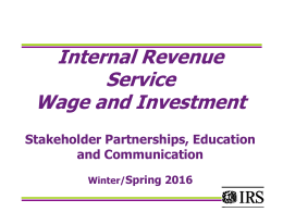 Internal Revenue Service Wage and Investment Stakeholder Partnerships, Education