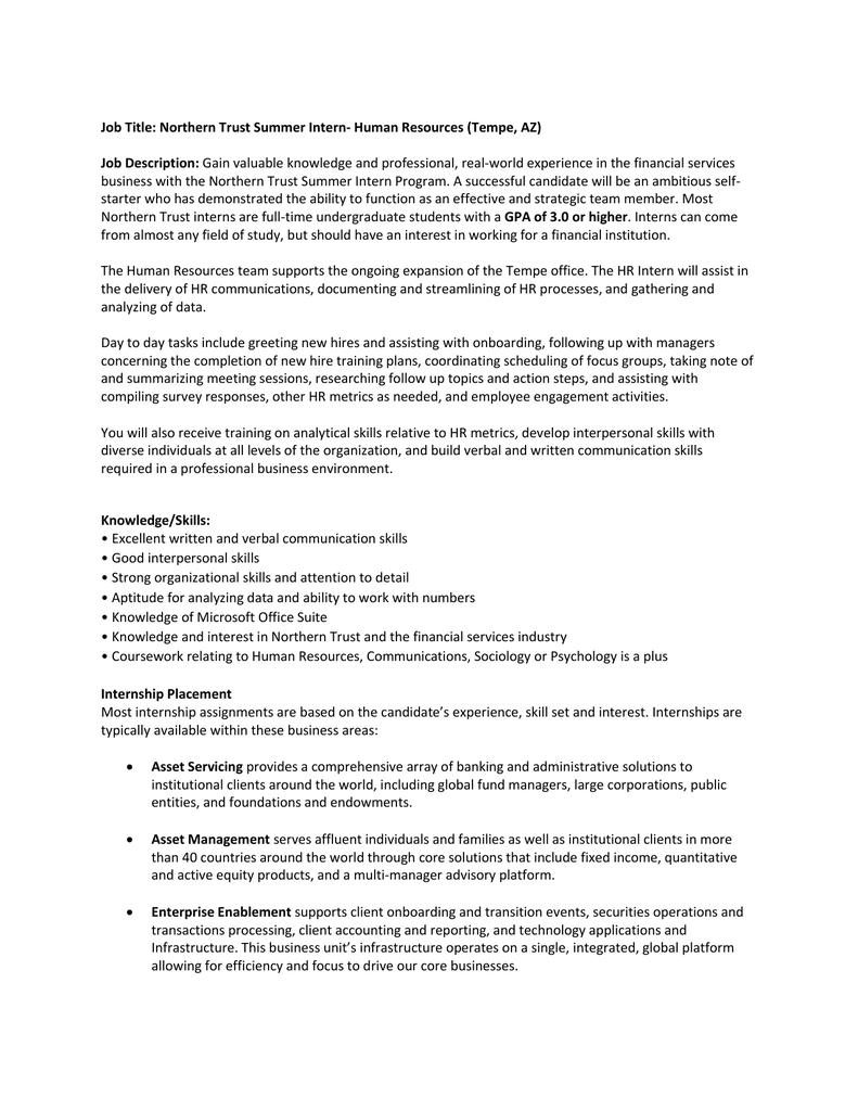 Job Title: Northern Trust Summer Intern- Human Resources