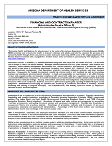 ARIZONA DEPARTMENT OF HEALTH SERVICES FINANCIAL AND CONTRACTS MANAGER