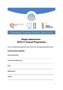 Single Submission - 2016-17 Annual Programme Lead Contact Details