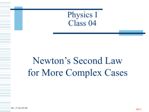 Newton's Second Law for More Complex Cases Physics I Class 04