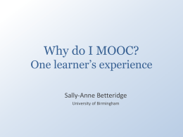 The experiences of a MOOC learner