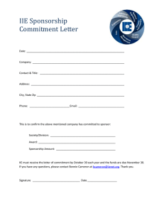 IIE Sponsorship Commitment Letter